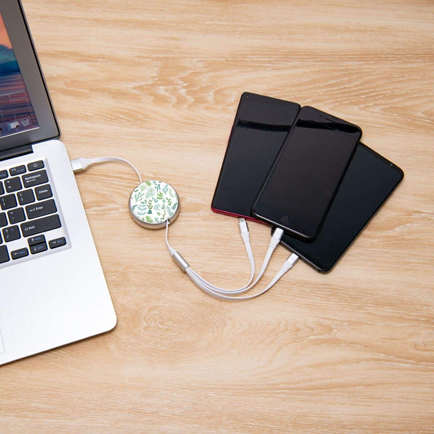 Leaves Round Retractable On The Go 3-in-1 Charging Cable Support Fast Charging and Data Sync 5 Adjustable Lengths USB Data Cable 3.0a Small Size Easy to Carry USB Data Cable