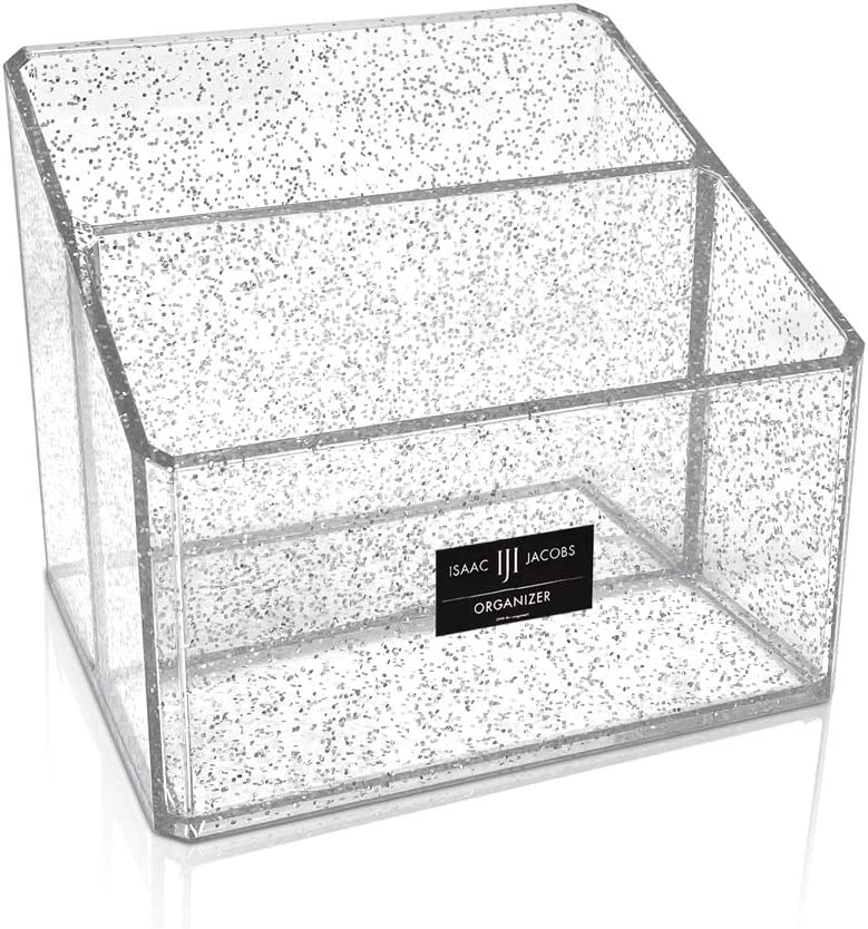 Isaac Jacobs Clear Acrylic 2-Section Organizer, Remote Holder & Multi-Functional Makeup, Brush, Pen & Pencil Storage Solution, for The Home, Bathroom, Office, Child's Desk (2-Section, Silver Glitter)