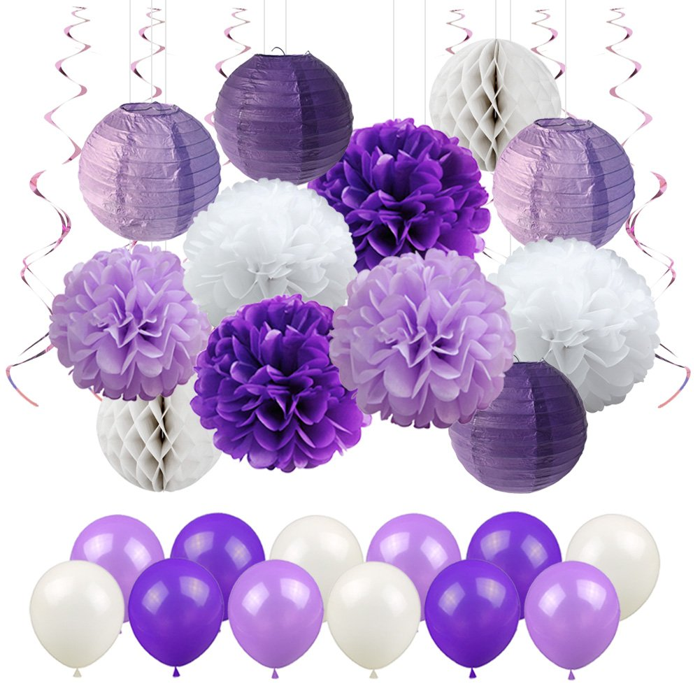 LUCK COLLECTION Bridal Shower Decorations Purple White Tissue Paper Decorations Balloons for Birthday Graduation Party Decorations