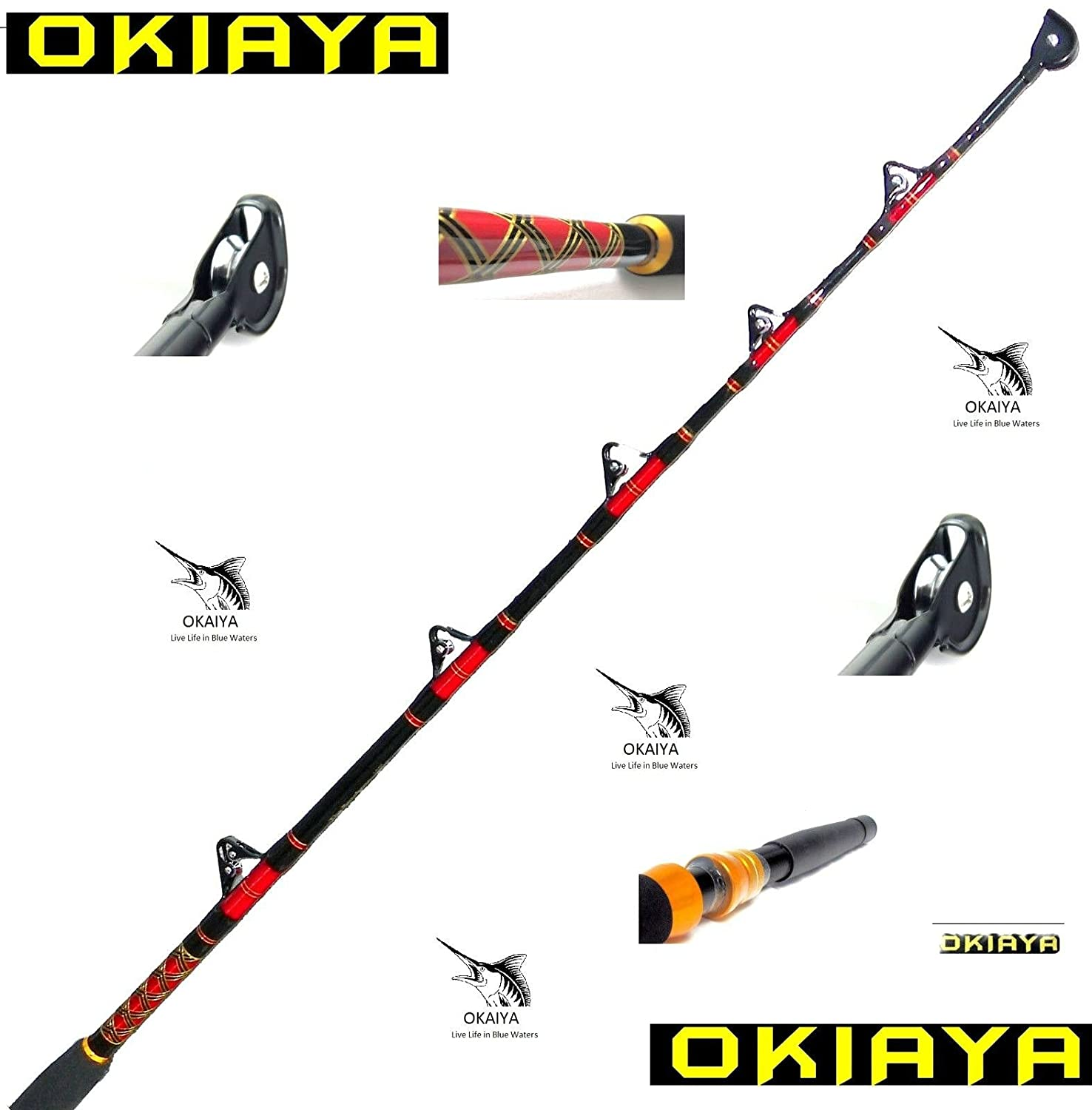 Okiaya composit 80 130lb saltwater big game roller rod ebay for Big game fishing rods