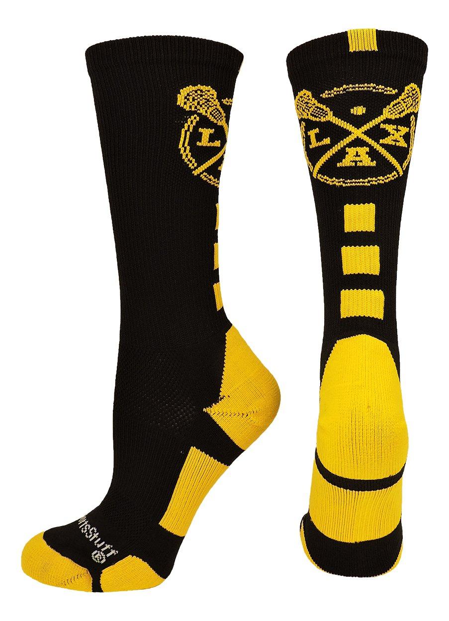MadSportsStuff LAX Lacrosse Socks with Lacrosse Sticks Athletic Crew Socks (Black/Gold, Medium) by MadSportsStuff