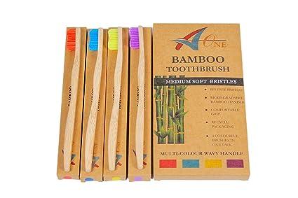 Cepillo de dientes de bambú premium. Meticulosamente fabricado con cerdas medianas, sin BPA,