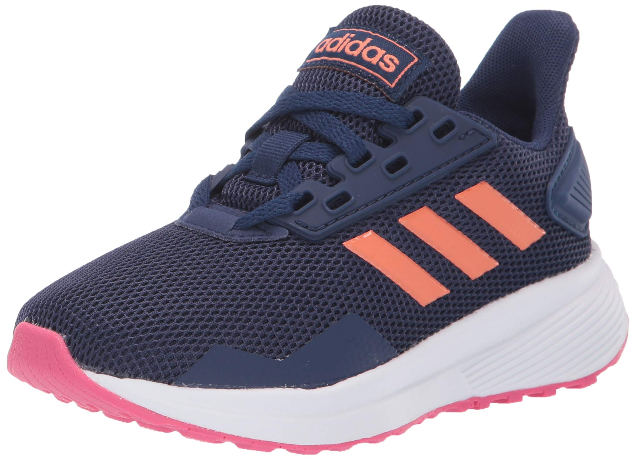 adidas Unisex Duramo 9 Running Shoe, Dark Blue/Semi Coral/Real Pink, 11K M US Little Kid by adidas