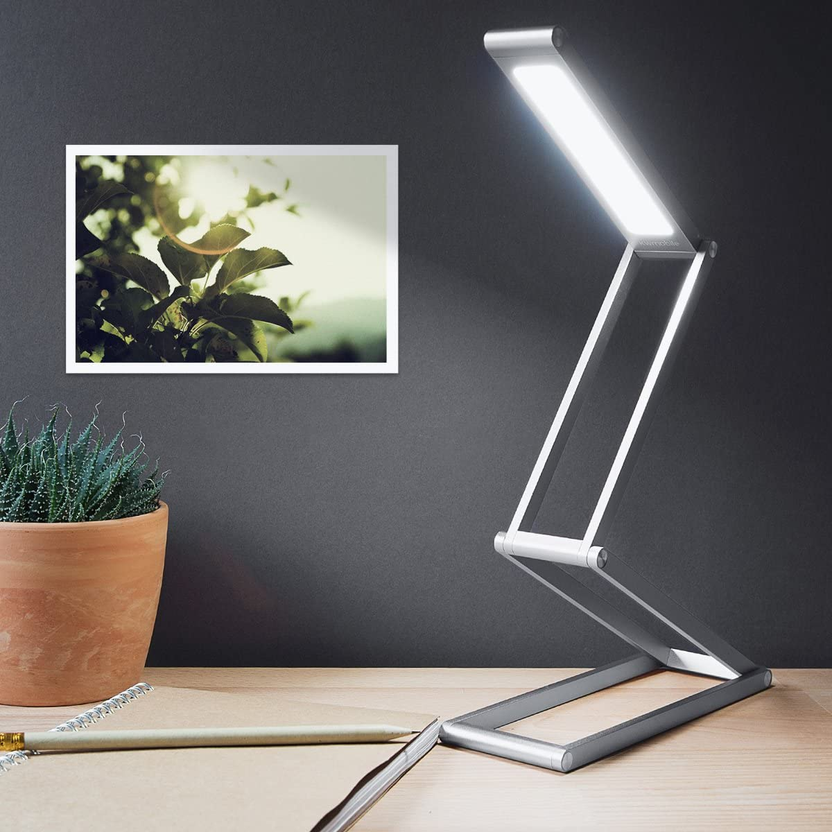 Dimmable Portable Aluminium Table Light for Home Studying Travel with Micro USB kwmobile Rechargeable LED Folding Desk Lamp Gold Reading