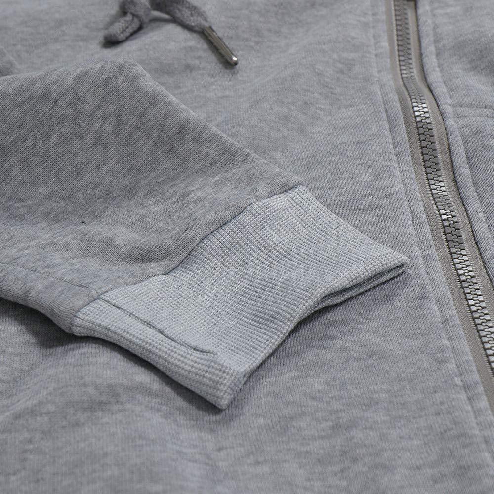 Naturazy Invierno Casual Tops Camiseta De Manga Larga Solid Blusa con Capucha Chaquetas Punto para Hombre Cardigan Abrigo Sudadera Y Cremallera Hombre: ...