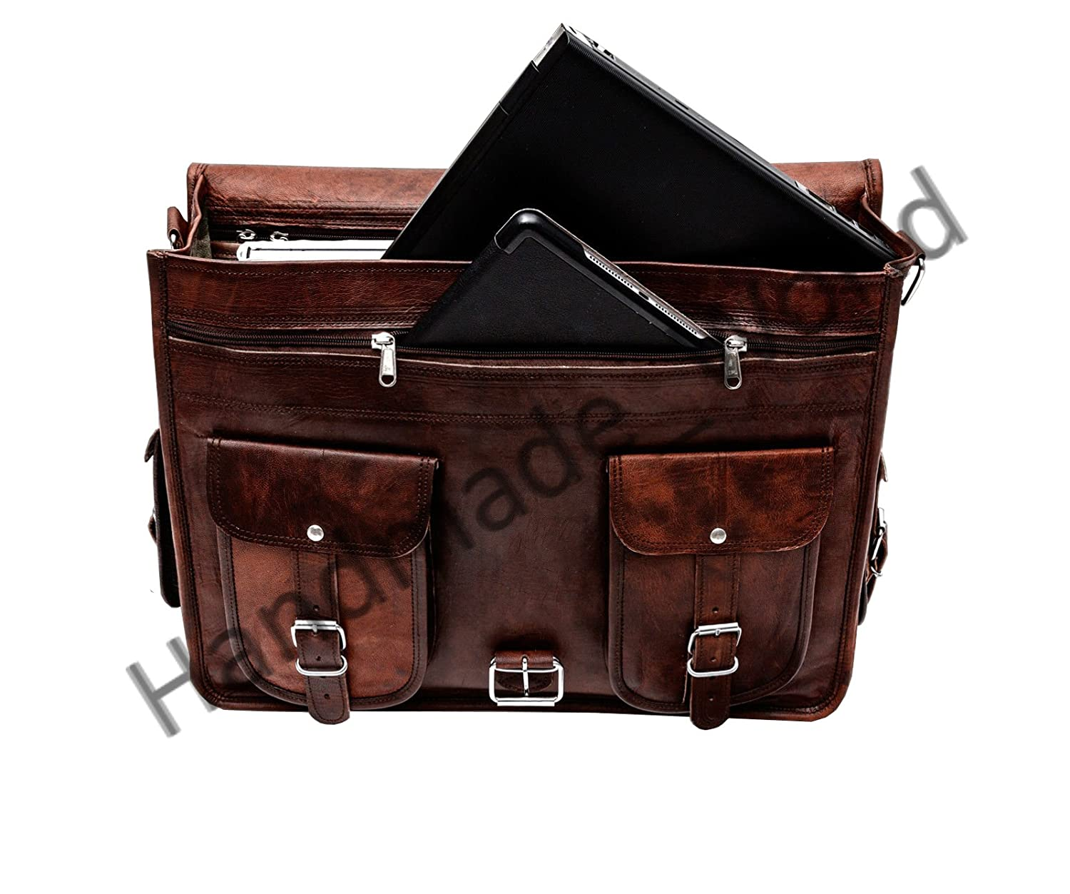Amazon.com  Handmade World Leather Messenger Bag - 16 Inch Briefcases for Men  Brown Leather Laptop Bag- Vintage Look Satchel  Computers   Accessories 9336387170be3