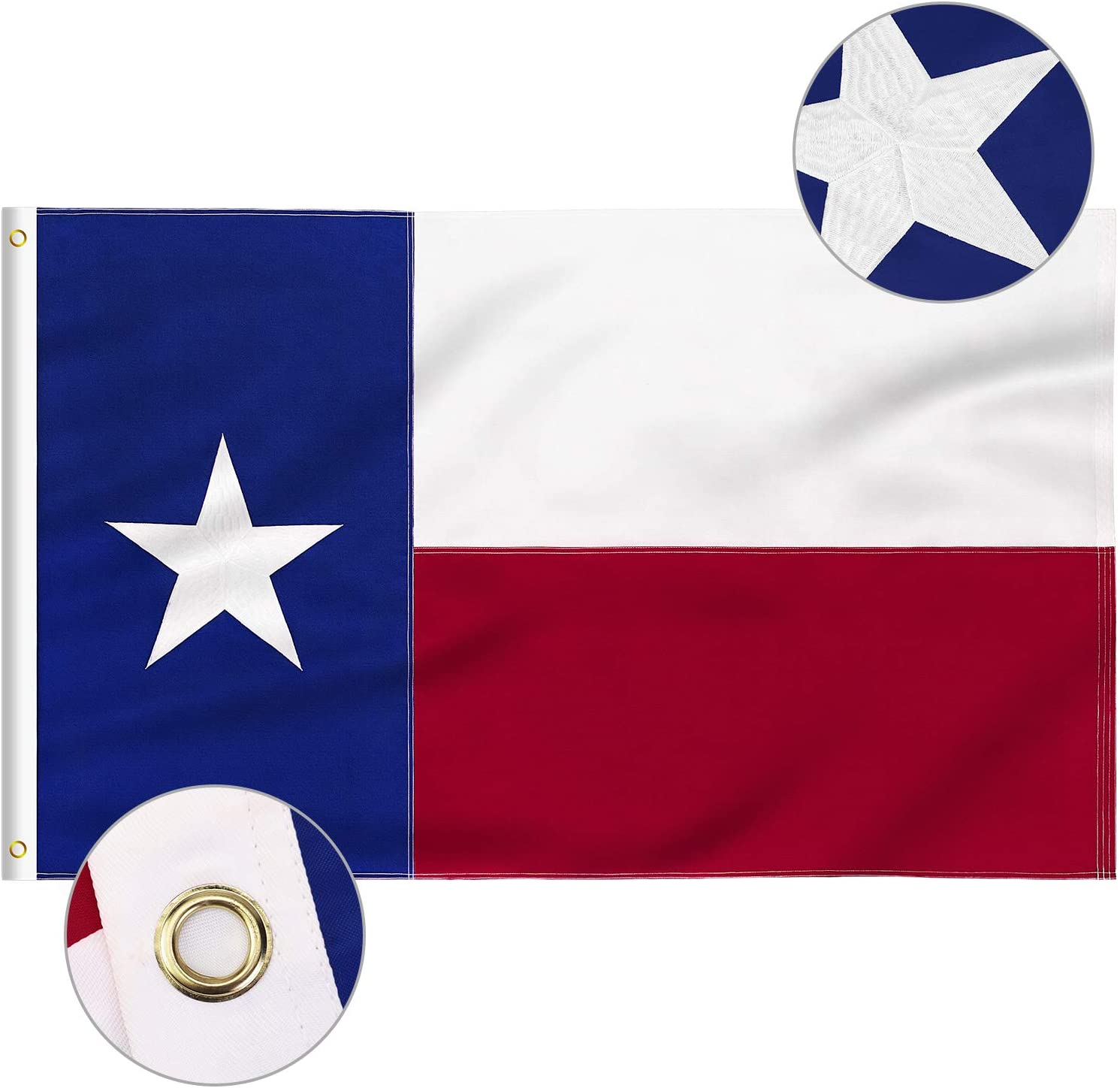 FLAGBURG Texas Flag 3x5 FT, TX Flags with Embroidered Star, Sewn Stripes (Not Print), Canvas Header & Brass Grommets, 100% High-Grade Outdoor Nylon for All-Weather Outdoor Display