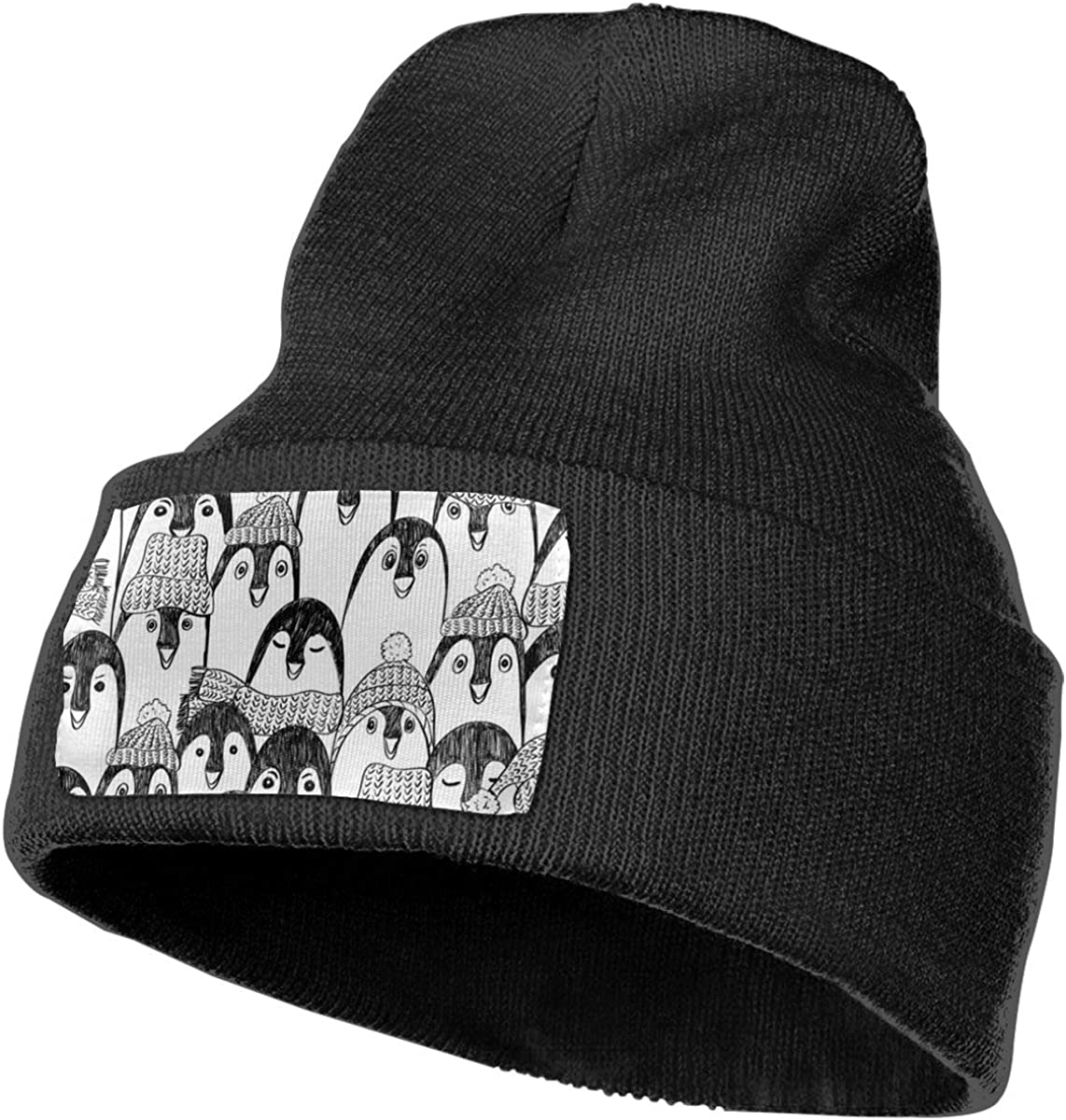 Cartoon Penguin Mens Womens Stylish Kintted Beanie Hat Slouchy Chunky Cuff Beanie