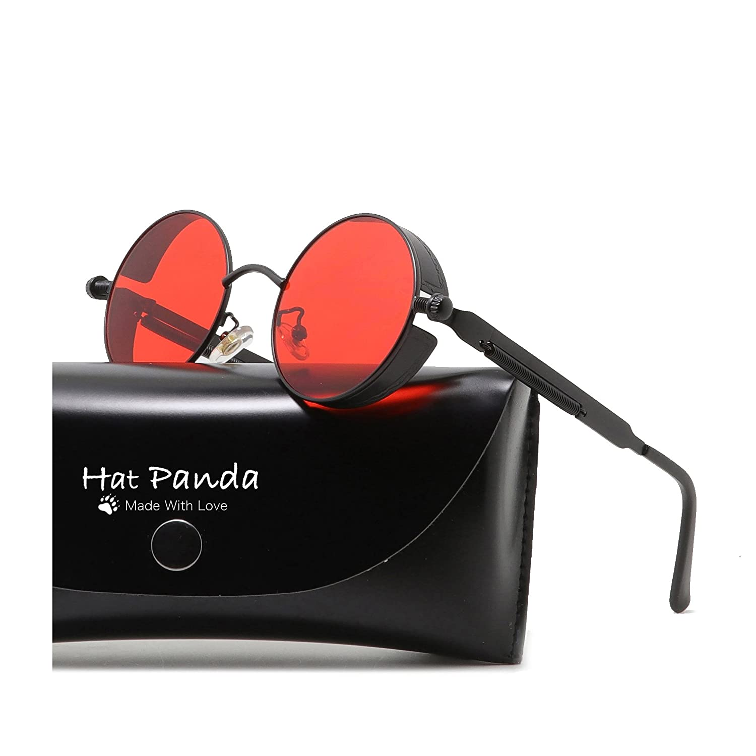 3464de4e95 HatPanda Round Steampunk Sunglasses Retro Sunglasses For Men And Women   Amazon.co.uk  Clothing