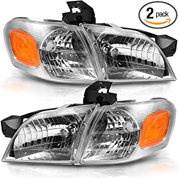 Amazon Com Autosaver88 Headlight Assembly Compatible With 1997 2005 Chevy Venture Chrome Housing Amber Reflector With Corner Lights Automotive