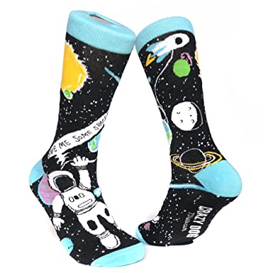 fb0e75ca Crazy Dog Tshirts Women's Give Me Some Space Sock Funny Astronaut Footwear