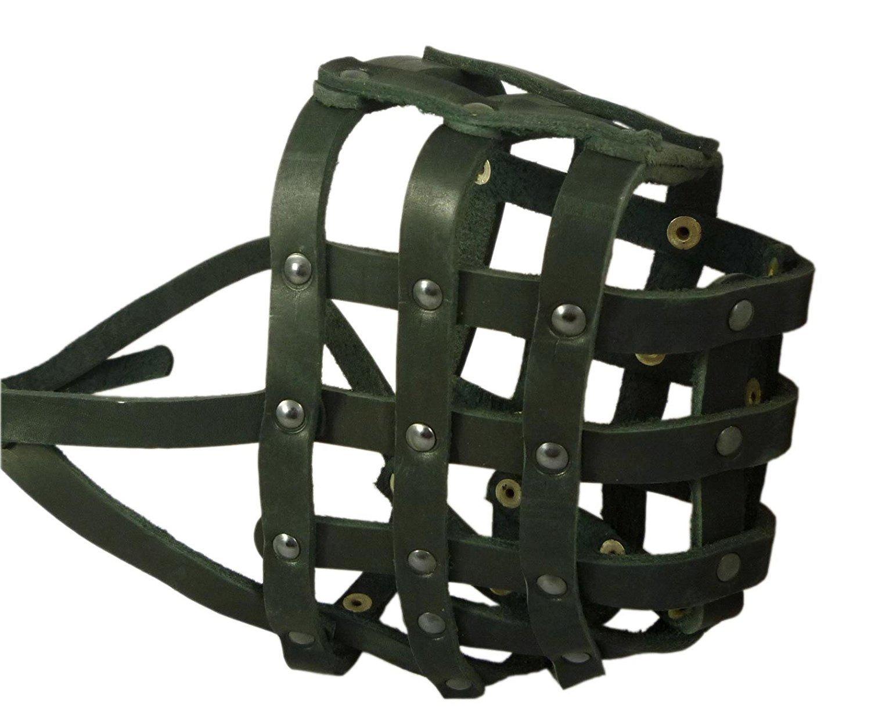 Real Leather Dog Basket Muzzle  115 Black (Circumference 18, Snout Length 4.7) Mastiff, Great Dane