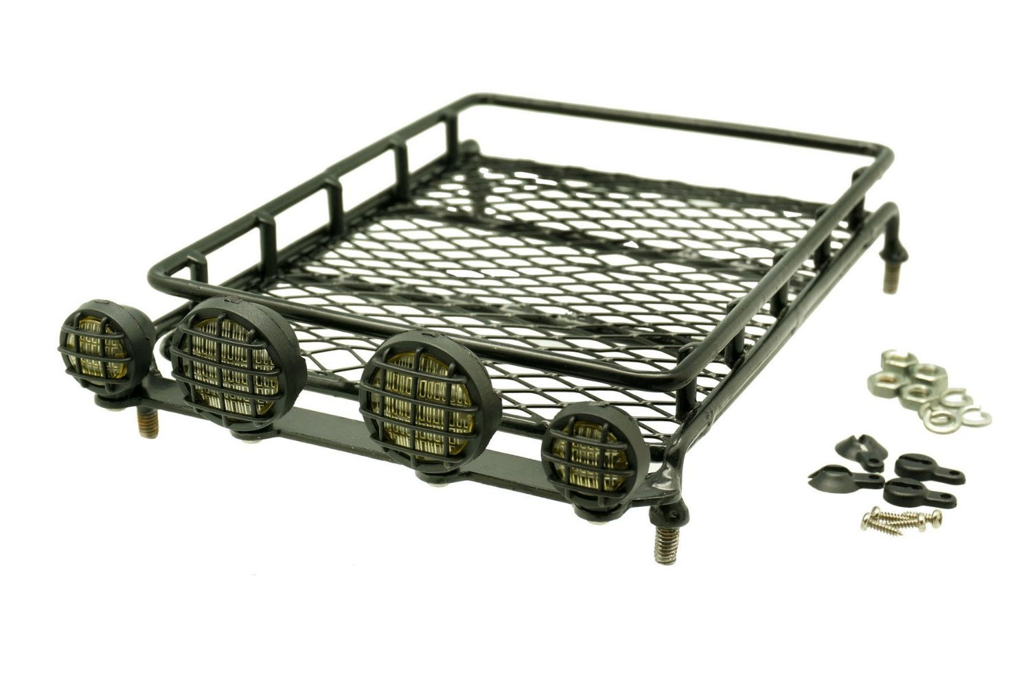 Gadget Place Metal Roof Rack / Luggage Storage Basket with Light Housings for RC Toys