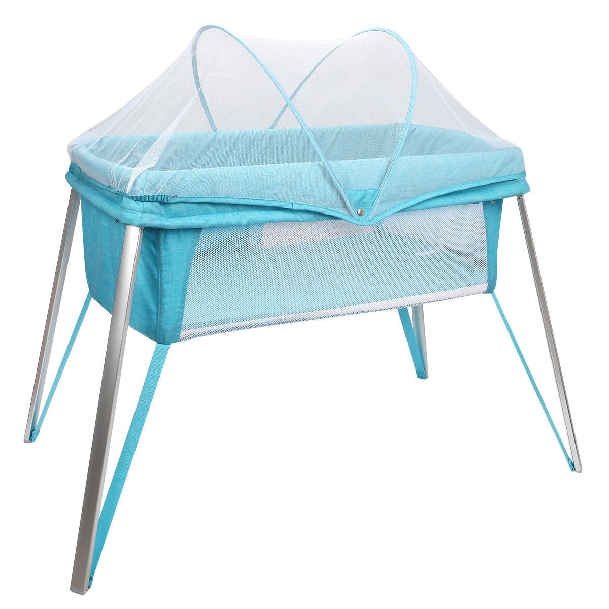 Costzon Baby Bassinet, Alumnium Foldable Baby Crib with Mosquito Net/Carry Bag