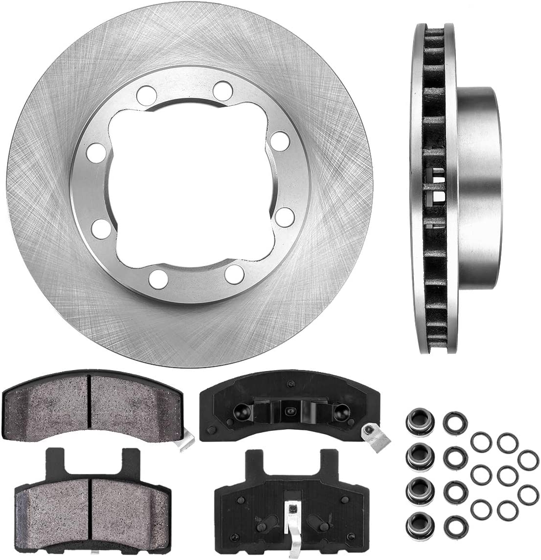 1992 1993 1994 1995 For Chevrolet K2500 Suburban Front Rotors and Pads 8 Lug