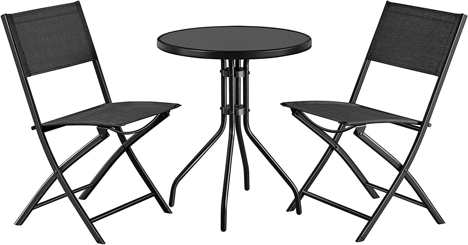 Topeakmart 3 Pcs Folding Bistro Set, Patio Garden Table Set of Round Glass Top Table and 2 Folding Chairs, Outdoor Dining and Conversation Set for Lawn,Garden,Deck,Backyard,Balcony, Black