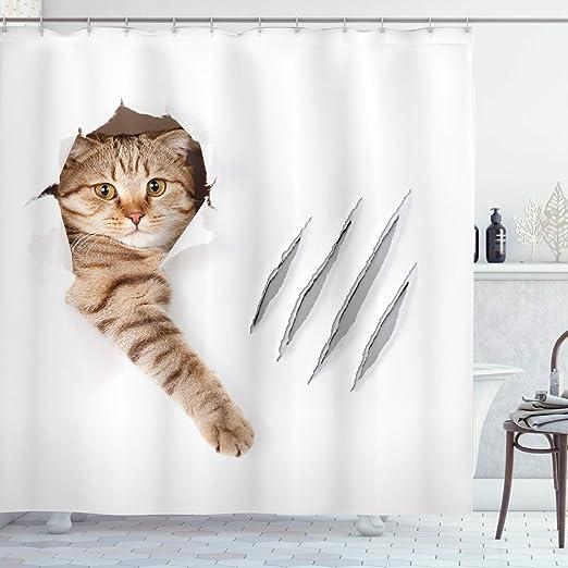 Christmas Red Green Cat Gift Holiday Art Fabric Shower Curtain Digital Bathroom