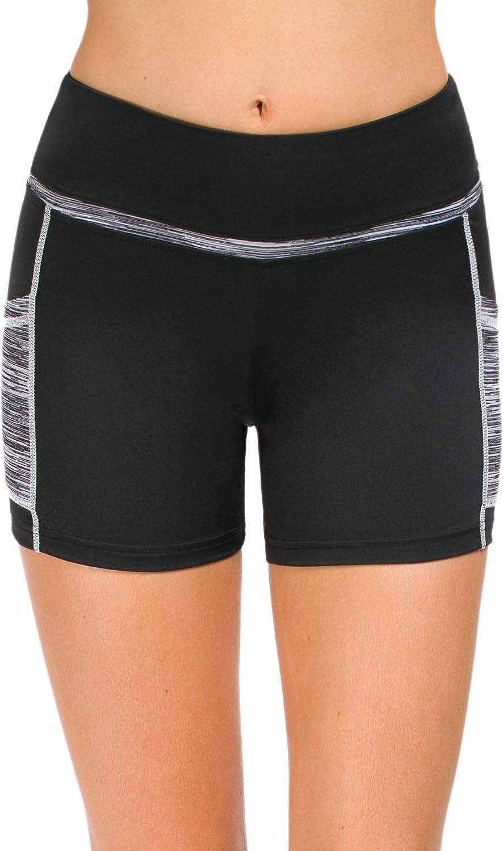 Neonysweets Womens Run Workout Yoga Short Pants Phone Pocket