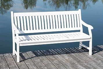 Elegant MSZ Design Gartenbank Hemingway 3 Sitzig Eukalyptus Weiß Mit Armlehne
