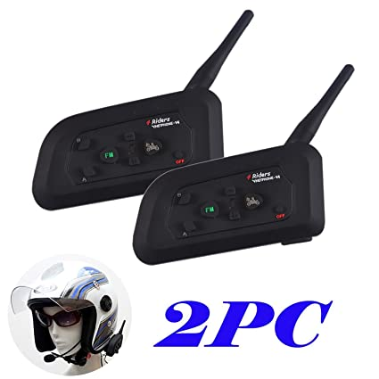 2×V4 Intercomunicador Bluetooth para casco de motocicleta Moto Intercom Headset 1200m (Intercomunicacion entre