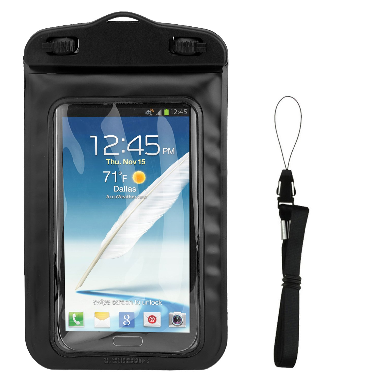 Floating Black Waterproof Cell Phone Case Dry Bag Pouch for Jitterbug Smart2, Smart 1