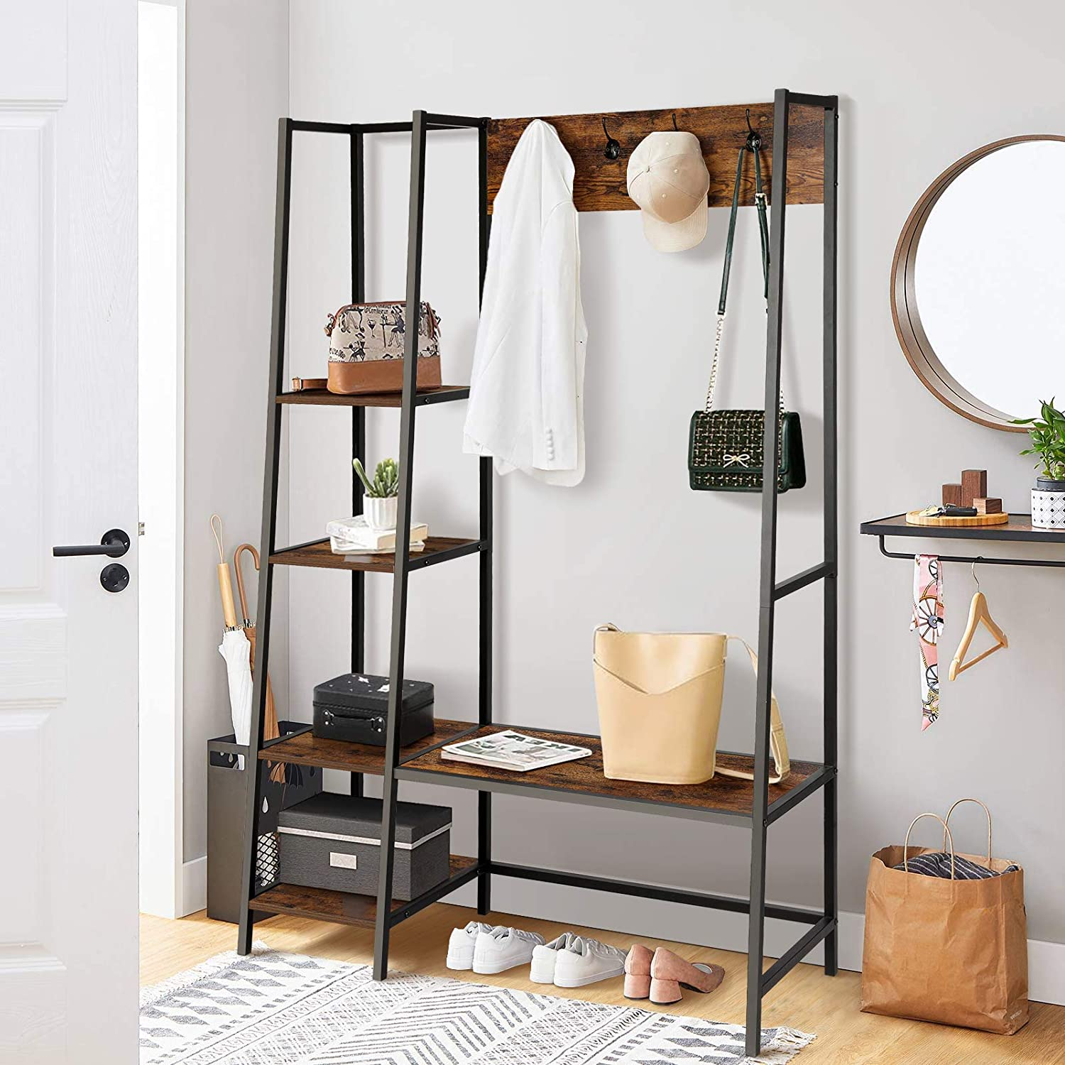 BackH Entryway Hall Tree with Bench and Hooks, Entryway Coat Rack 4 Tier Shelves, Shoes Bench, Rustic Style, Industrial Storage Shelves, Wood Accent Furniture, (Rustic Brown)