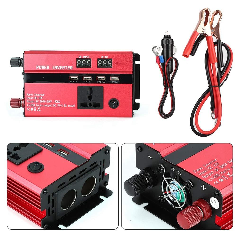 3000W 12V /à 220V Convertisseur dinverseur de puissance de voiture avec port USB daffichage LCD Ports dallume-cigares Inverseur de puissance de voiture
