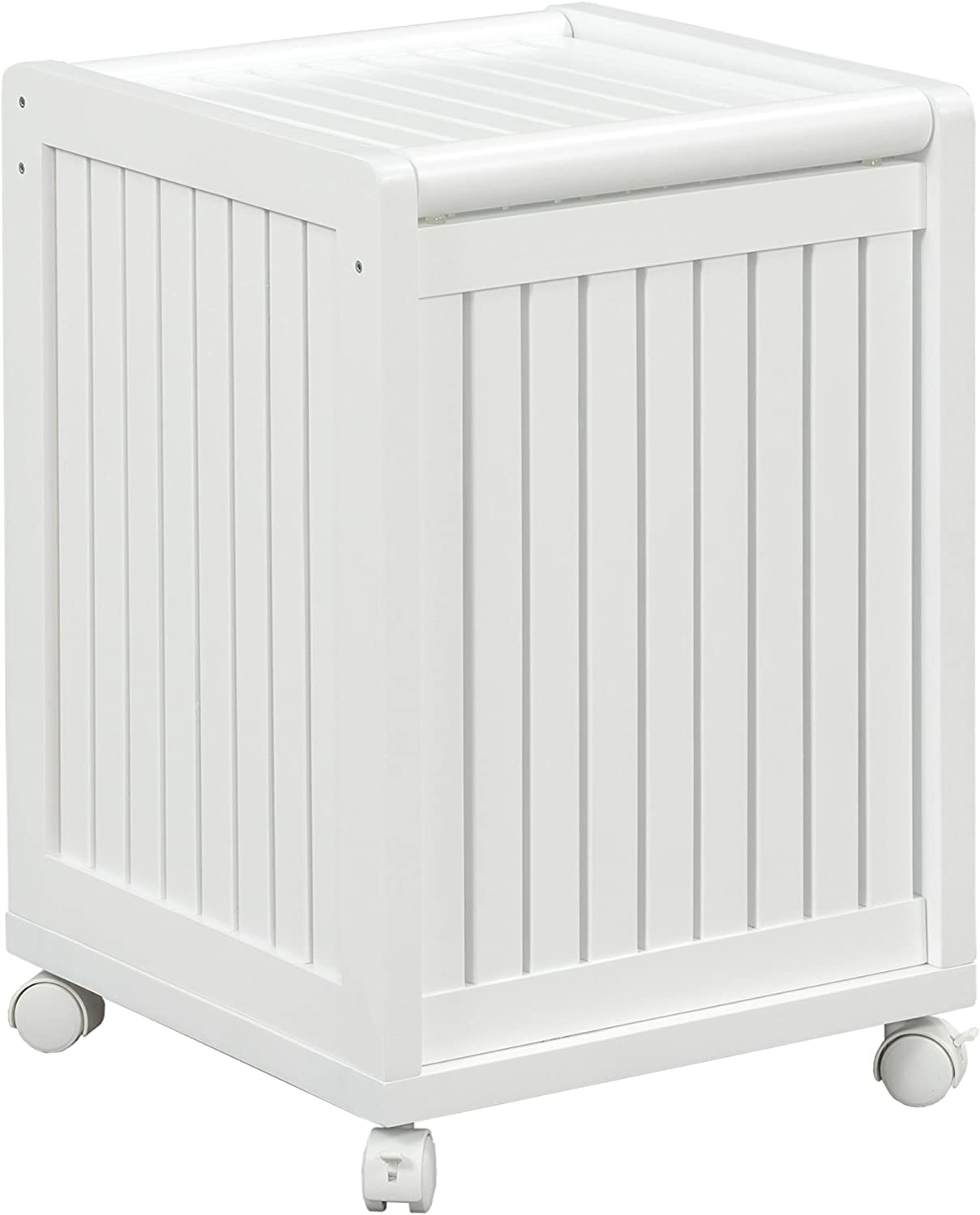 New Ridge Home Goods Abingdon Solid Birch Wood Mobile Hamper with Lid, White