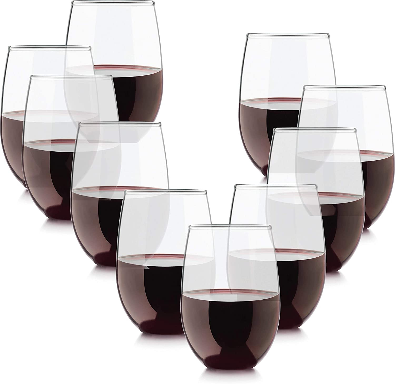 Circleware 44577 Twilight Huge Set of 10 Stemless Wine, Glass Entertainment Kitchen Glassware for Water, Liquor, Whiskey & All Drinking Beverages, Lead Free, 15 oz