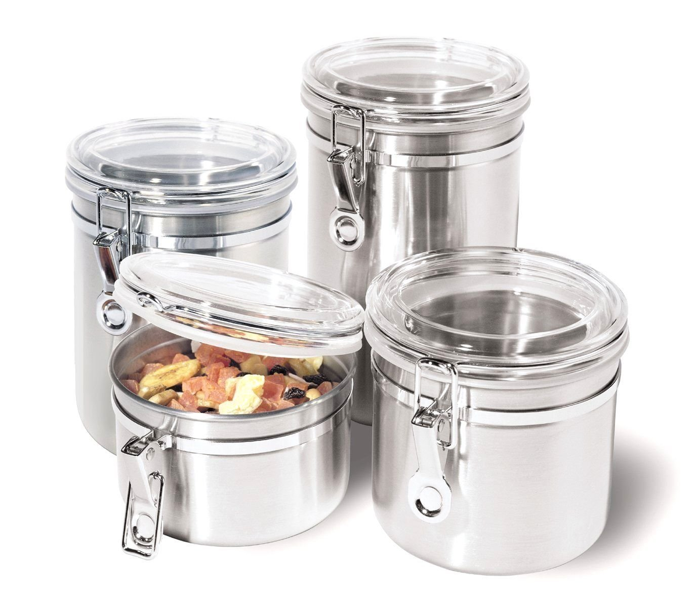 dingdangbell 4 Pcs Stainless Steel Canister Set with Airtight Acrylic Lid Kitchen Stainless Steel Spice Jars Set (S:550ML)