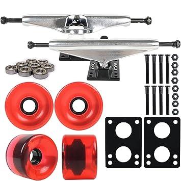 Núcleo de Longboard paquete 7 en plata camiones 76 mm ruedas Rojo rosso