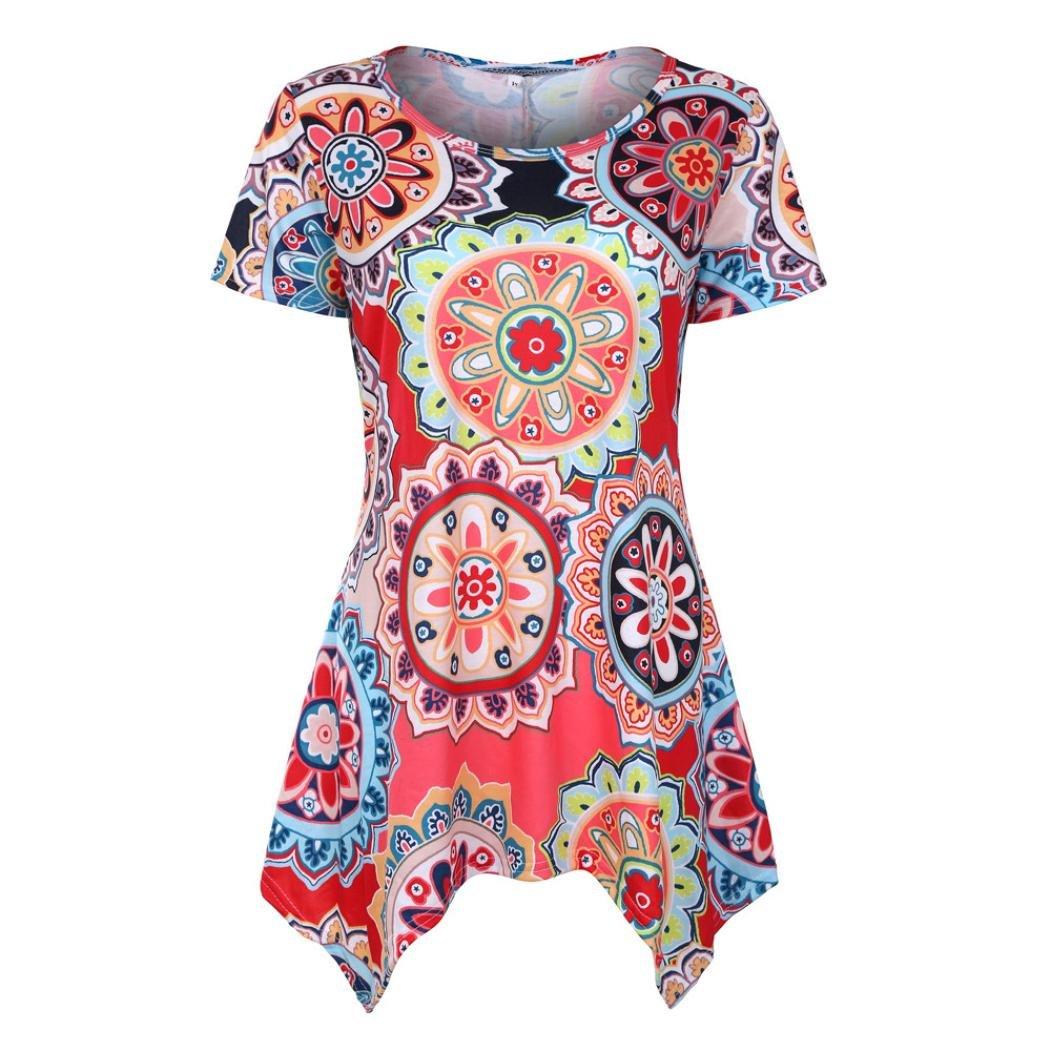VEMOW Summer Mutter Geschenk Tag Damen Damen Kurzarm Swing Tunika Sommer Floral Flare T-Shirt Top Bluse Shirt Tees Shirt Kleid