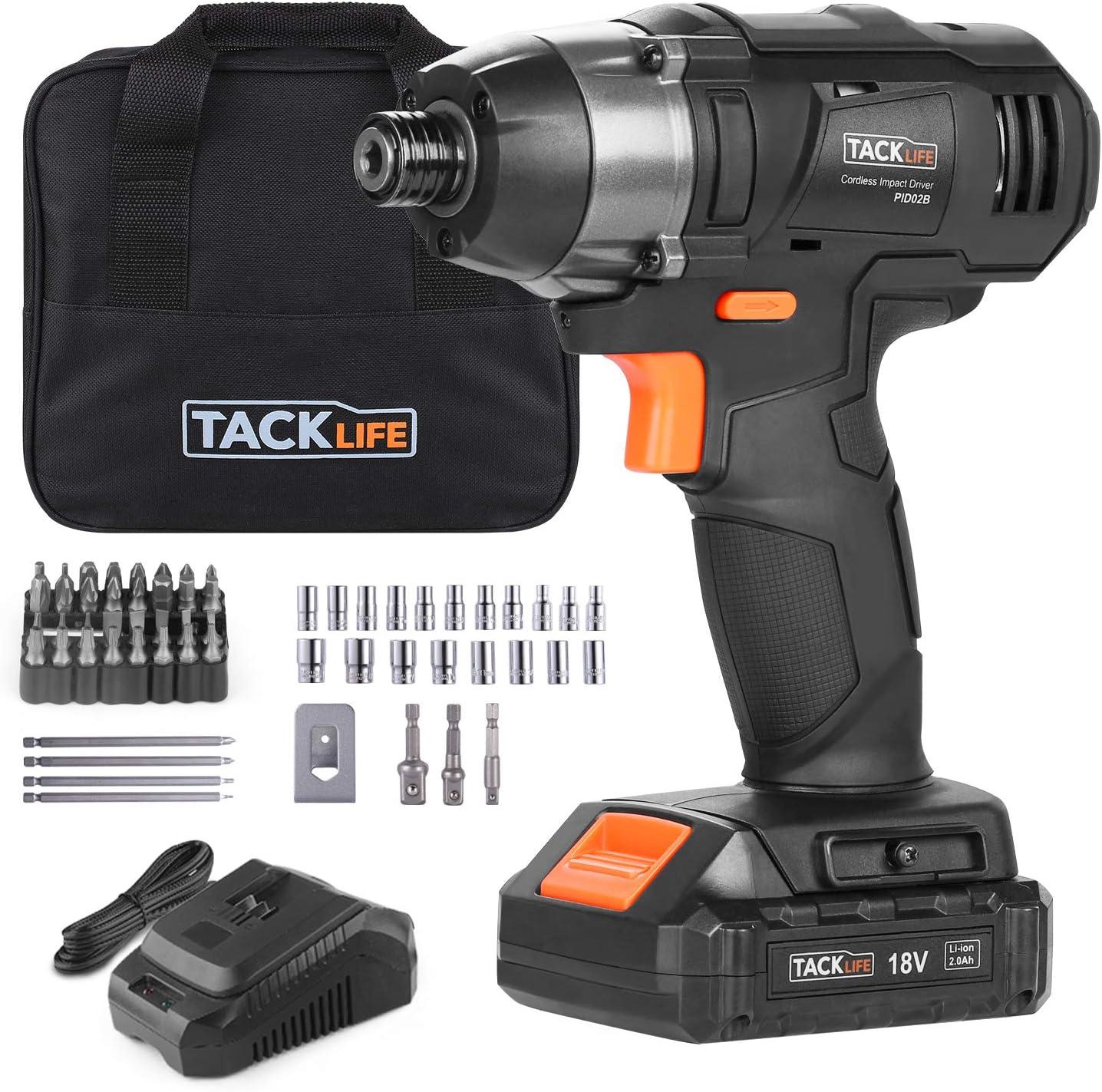Atornillador de Impacto 18V, TACKLIFE 180 Nm Pistola de Impacto, 2.0Ah, 2800 Velocidad Máxima y 3600 Frecuencia de Impacto, 6.35mm Portabrocas Rápido, 1H Cargador Rápido, PID02B