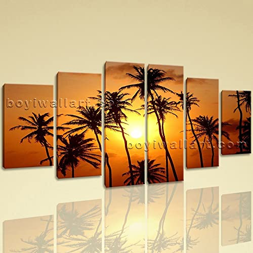 Extra Large Landscape Wall Art Canvas Realism Dining Room Hexaptych Panels Print