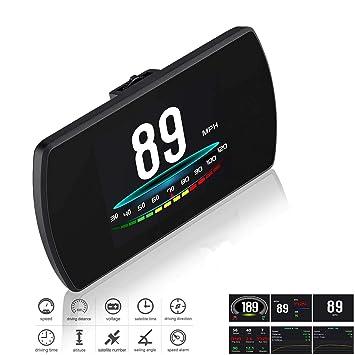 Universal coche HUD Head Up Display digital GPS velocímetro brújula aceleración prueba de freno prueba de sobrevelocidad alarma Pantalla LCD HD para ...