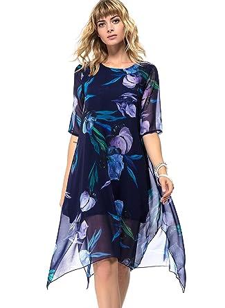 871c22c1b51 Floryday Polyester Floral Half Sleeve Knee-Length Casual Dresses - Blue -