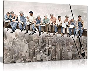 Lunch ATOP of A Skyscraper with Colour Canvas Wall Art Picture Print (36x24)