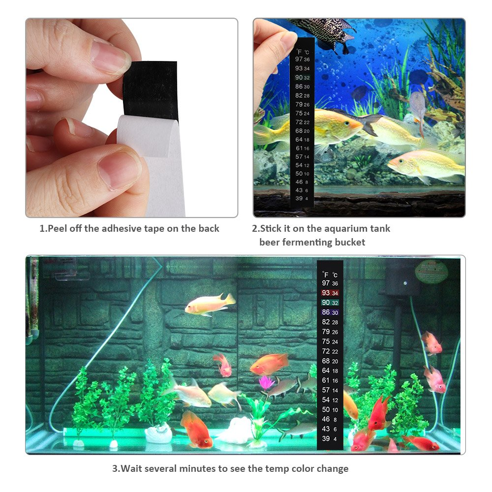 OneBom Adhesive Thermometer Strip, Stick On Thermometer Tape for Brewing Wine,Beer, Kombucha, Aquarium,Fish, Aquarium by OneBom (Image #5)