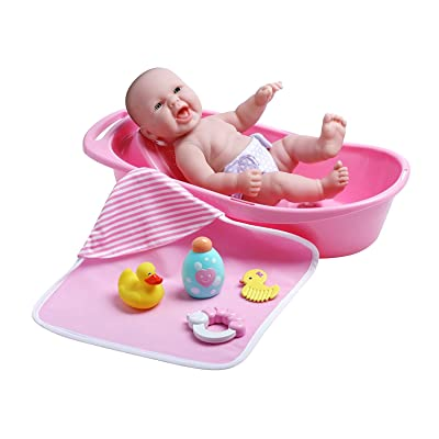 "JC Toys La Newborn Realistic Baby Doll Bathtub Gift Set Featuring 13"" All Vinyl Newborn Doll (8 Piece): Toys & Games"