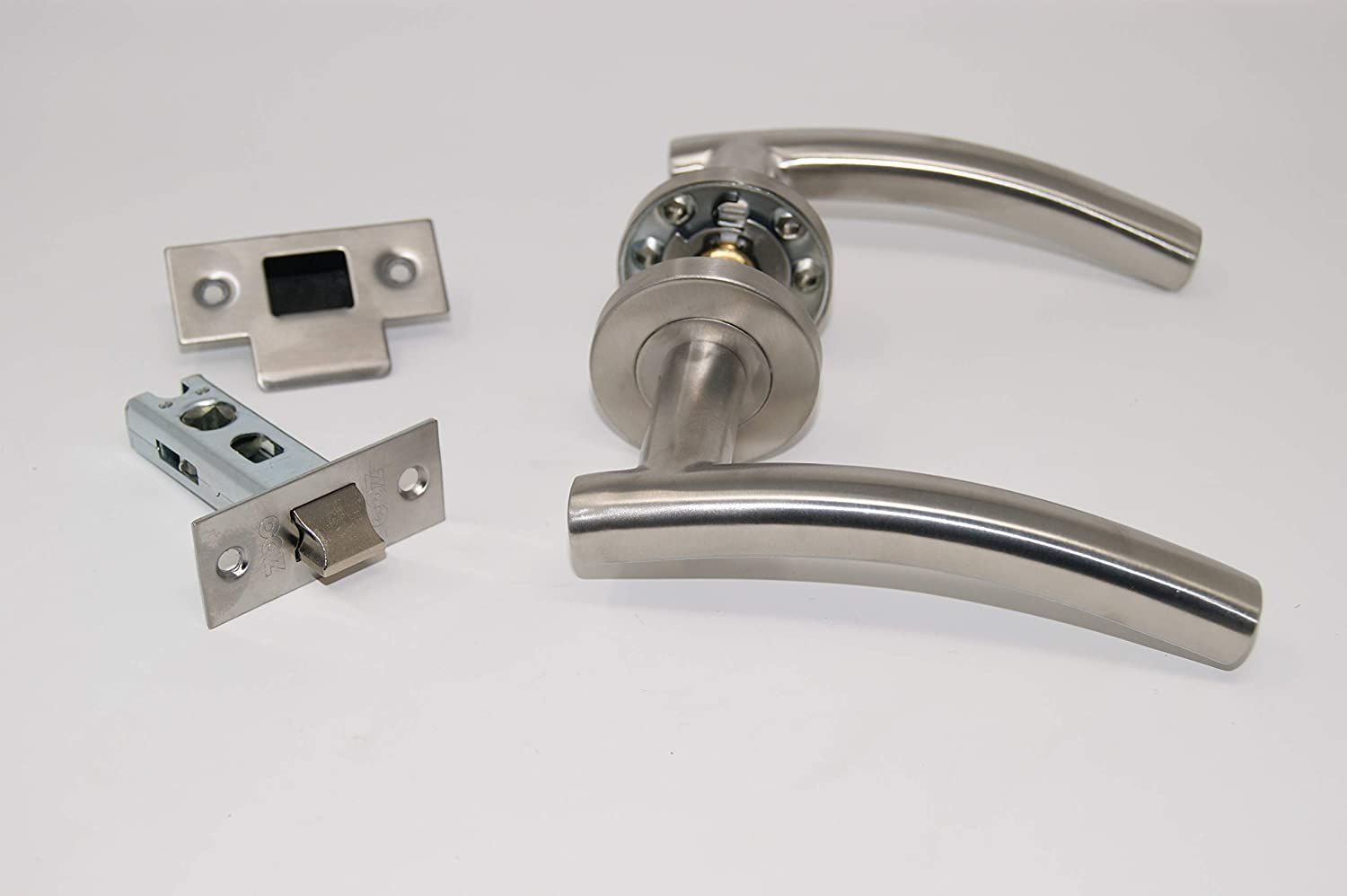 1 x Bathroom Set Satin Stainless Steel 8 X Arched Door Handle Pack Latch Set