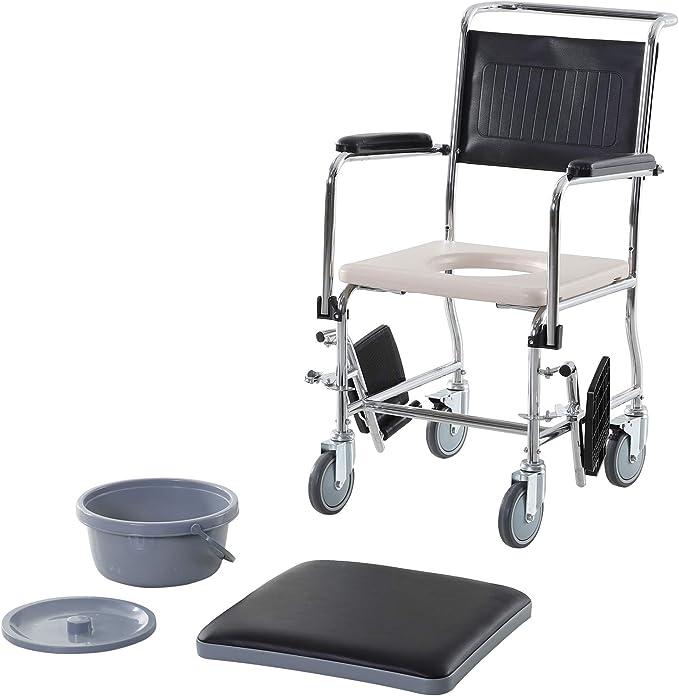 HOMCOM Sedia a Rotelle Impermeabile con WC Seduta in