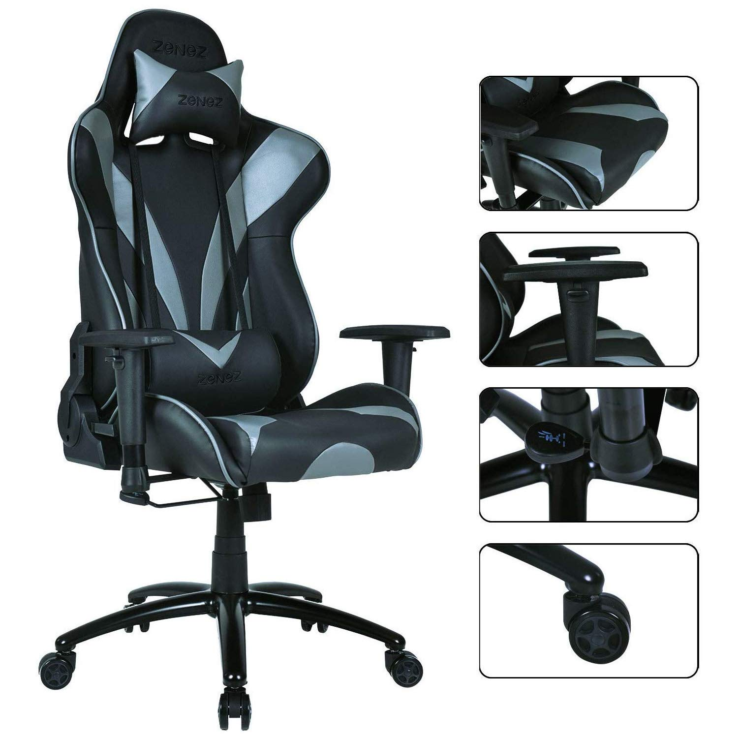 ZENEZ Gaming Chair Office Chair High Back Computer Chair Racing Ergonomic Backrest and Seat Height Adjustable Recliner Swivel Rocker with Headrest and Lumbar Pillow Large Size(Black) by ZENEZ