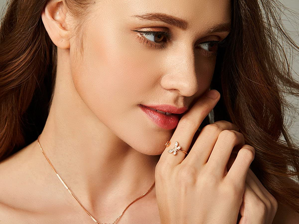 Anchilly Adjustable Butterfly Promise Rings Real Rose Gold Plated Fashion Elegant Ring for Women Girls