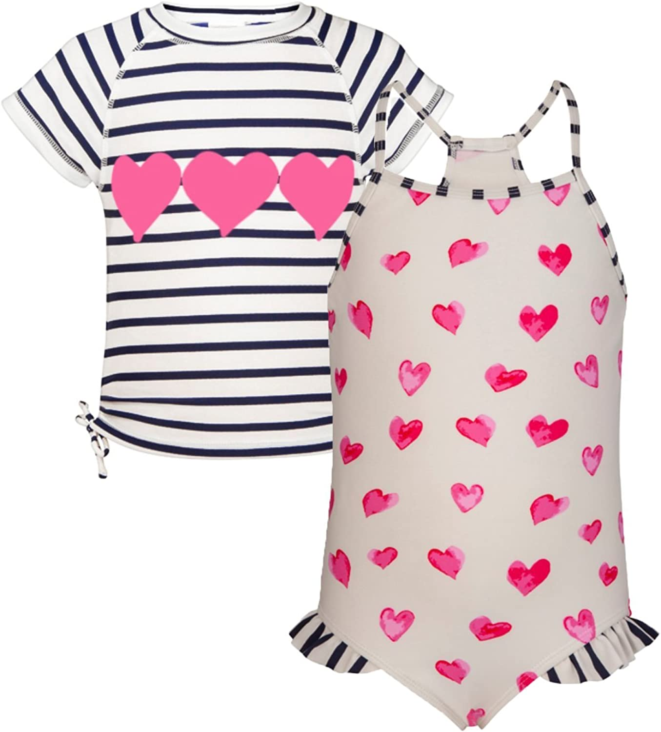 Snapper Rock Hearts 2 PC Swimsuit and Short Sleeve Rash Top Set