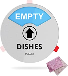 Dishwasher Magnet Clean Dirty,Clean Dirty Empty Indicator,Works on All Dishwashers,Non-Scratch Strong Magnetic Backing,6 Inch,Comes with Dish Towels