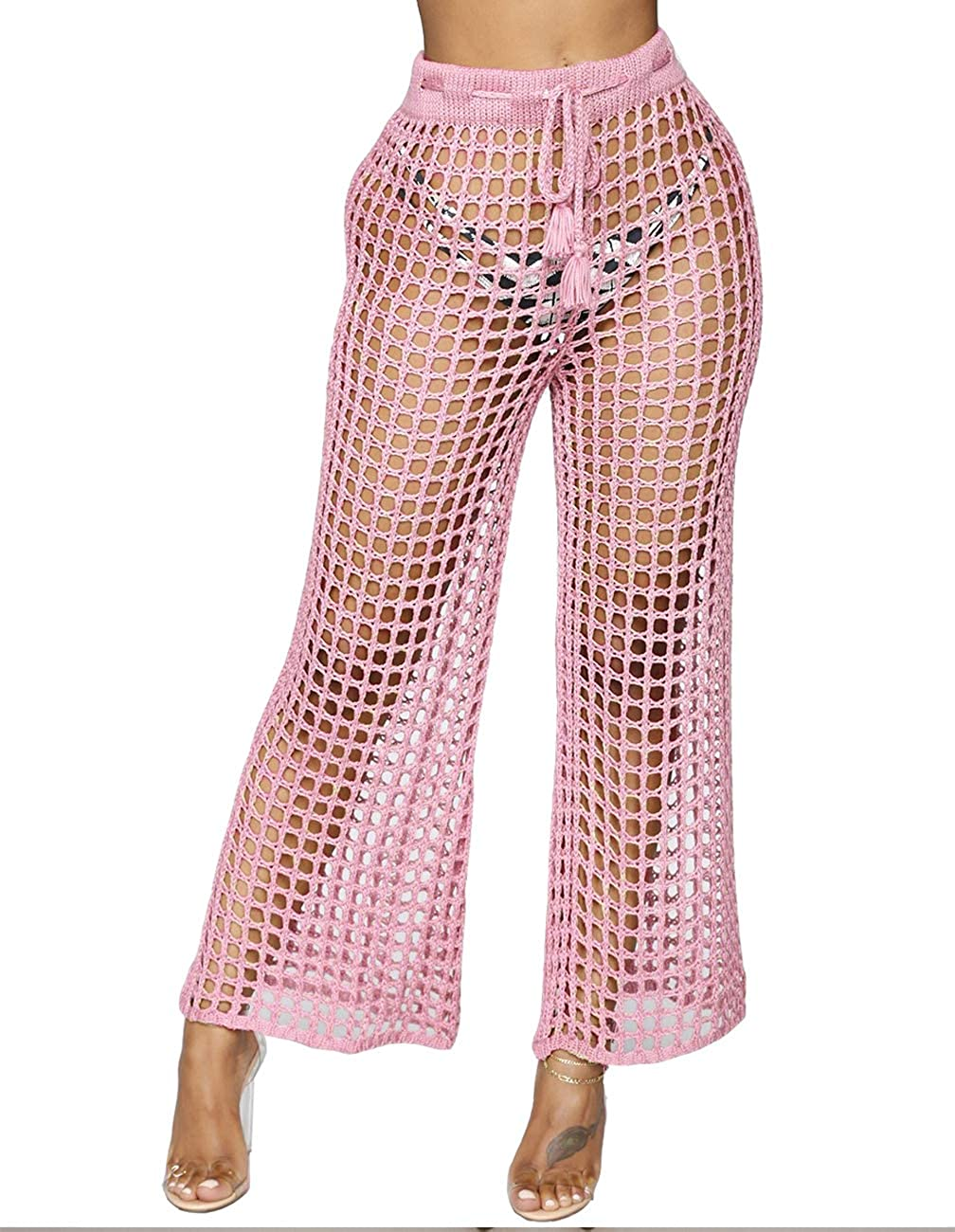 b3c50359e5c08 Cover Up Pants Swimwear - Womens Sexy High Waist Net Hollow Out Crochet  Pants Coverups at Amazon Women's Clothing store: