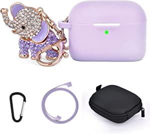 AirPods Pro Cases Keychain Set, Silicone TOROTOP Airpod 3 Protective Case Cover Skin Compatible for Apple Airpod Pro 2019 with Bling Elephant Keychain/Storage Box(Front LED Visible) (Purple)