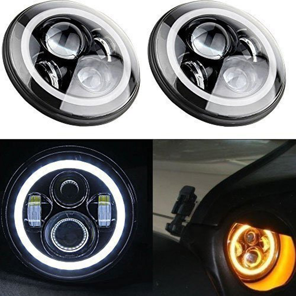2 Yr Warranty 2 Pack-SXMA 7 Inch Round CREE LED Projector Headlights with White Halo Angel Eye Ring DRL /& Amber Turn Signal Lights for 97-2017 Jeep Wrangler JK TJ LJ
