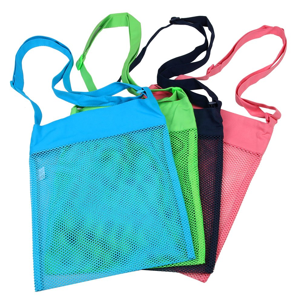 Colorful Mesh Beach Bags 11.4 x 13.7inch Breathable Sea Shell Bags with Adjustable Carrying Straps (4 PC Set)  [Blue, Pink, Green, and Black]
