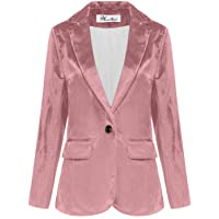 Wemaliyzd Womens Velvet Jacket Slim Fit 1 Button Blazer Office Lady